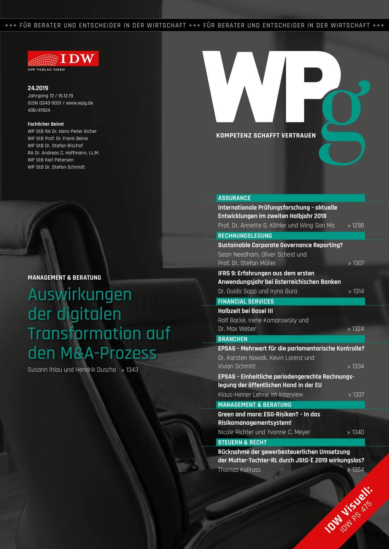 WPg - Die Wirtschaftsprüfung 24/2019