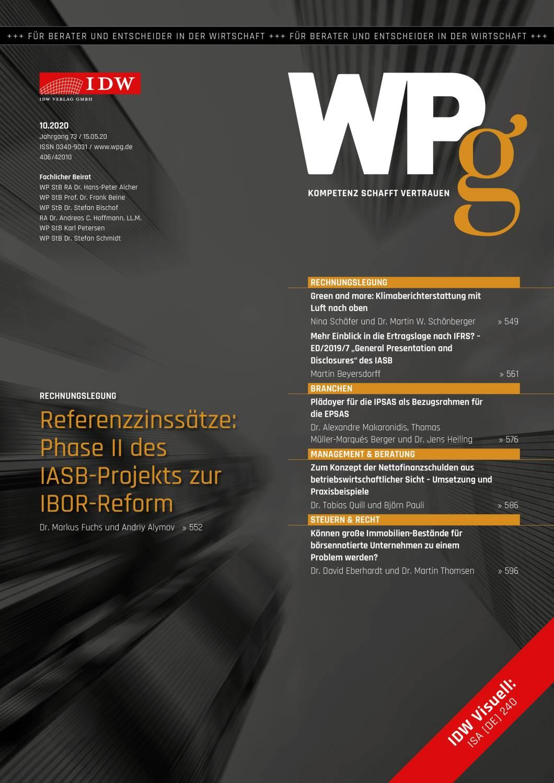 WPg - Die Wirtschaftsprüfung 10/2020