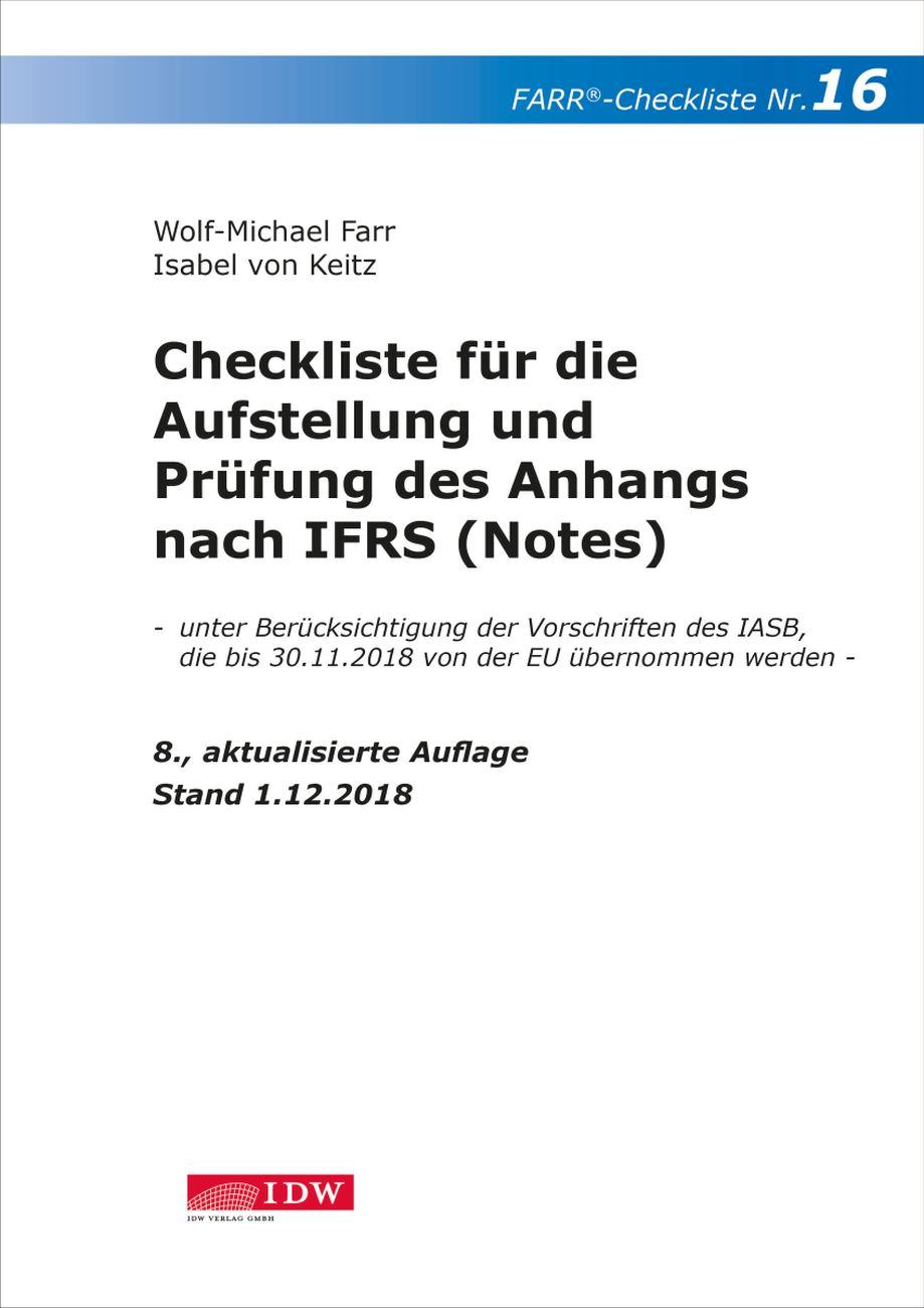 Checkliste 16 für die Aufstellung und Prüfung des Anhangs nach IFRS (Notes)