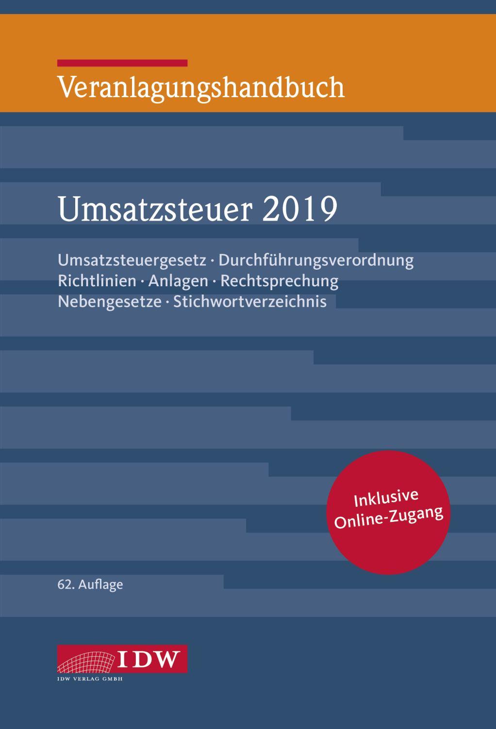 Veranlagungshandbuch Umsatzsteuer 2019