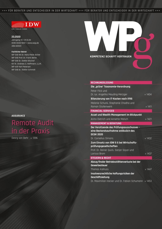 WPg - Die Wirtschaftsprüfung 23/2020