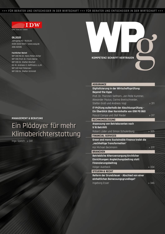 WPg - Die Wirtschaftsprüfung 6/2020