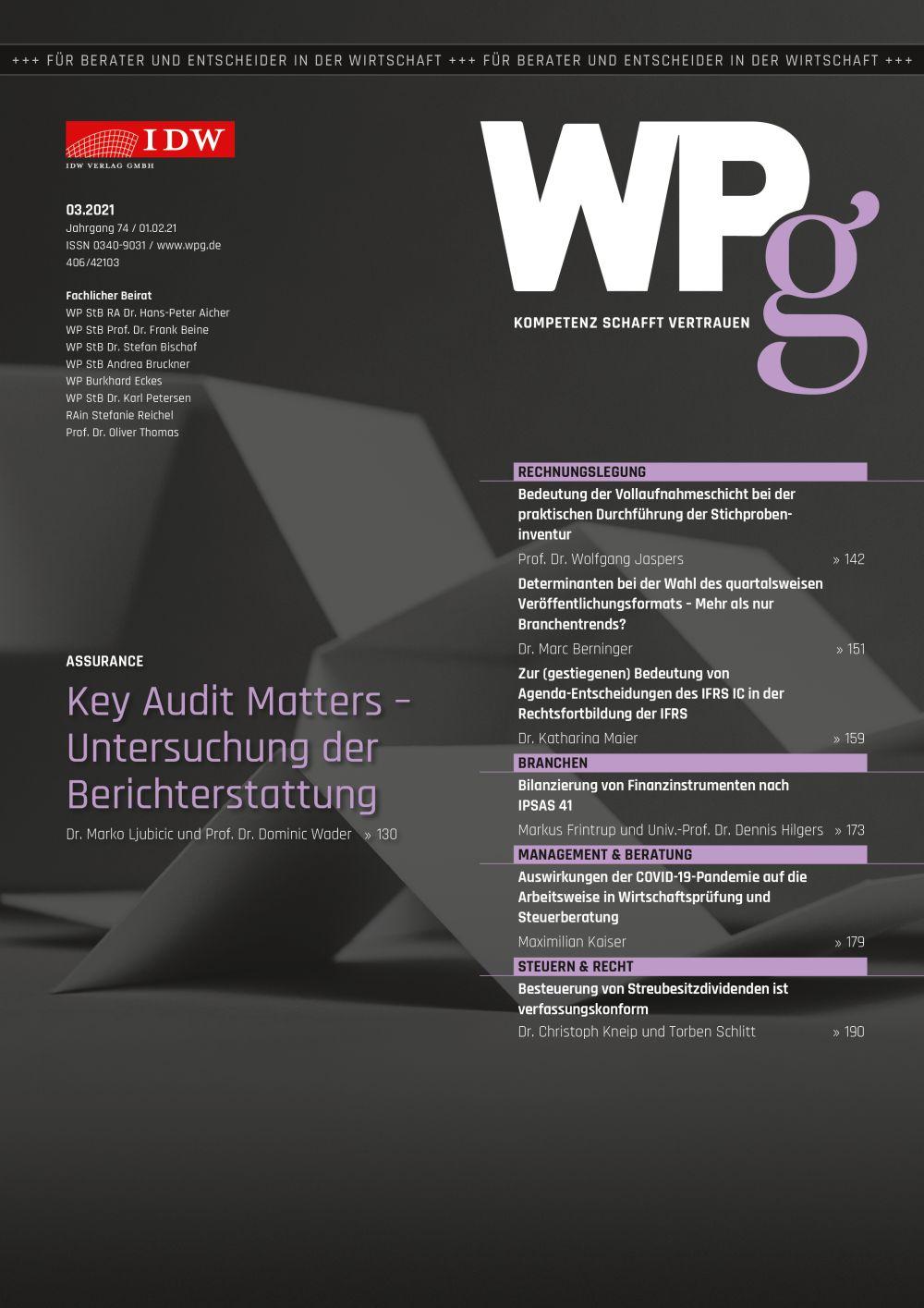 WPg - Die Wirtschaftsprüfung 3/2021