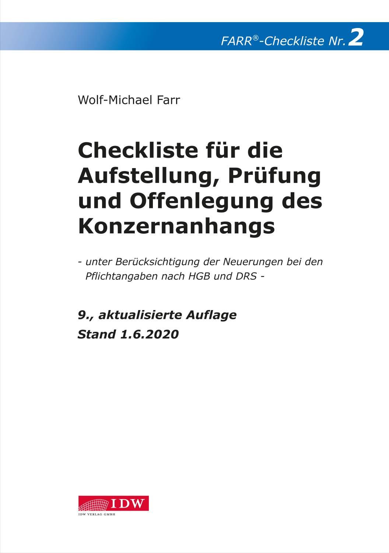 Checkliste 2 für die Aufstellung, Prüfung und Offenlegung des Konzernanhangs