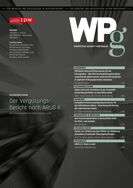 WPg - Die Wirtschaftsprüfung 4/2020