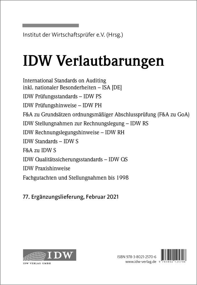 IDW Verlautbarungen - Ergänzungslieferung