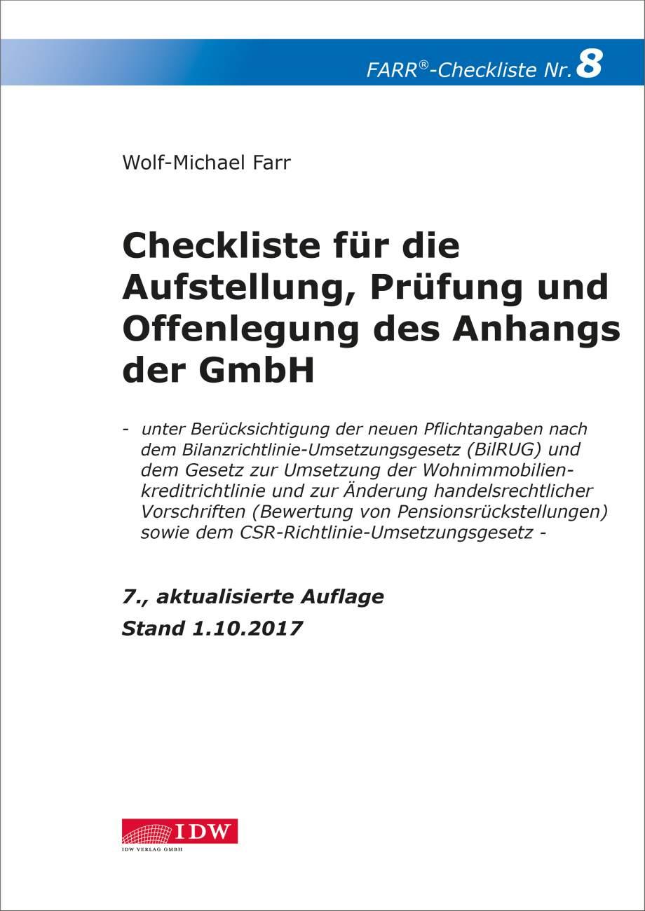 Checkliste 8 für die Aufstellung, Prüfung und Offenlegung des Anhangs der GmbH