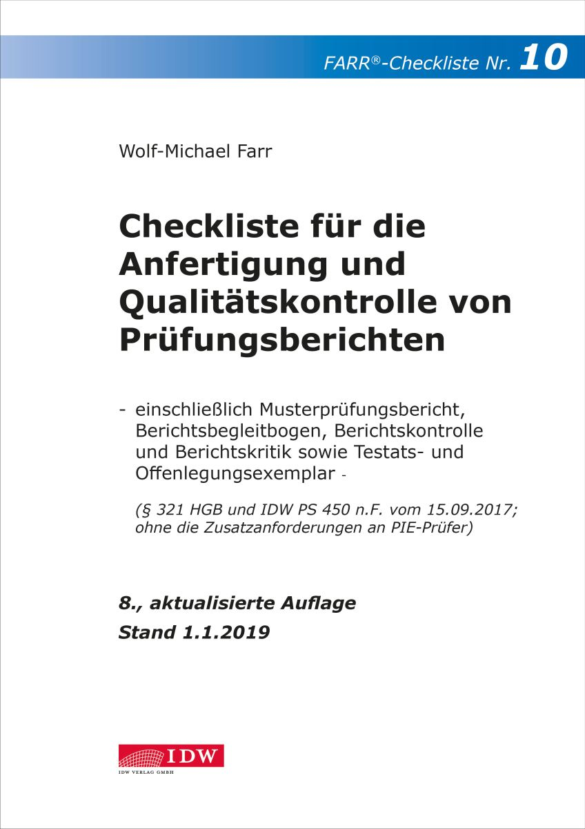 Checkliste 10 für die Anfertigung und Qualitätskontrolle von Prüfungsberichten