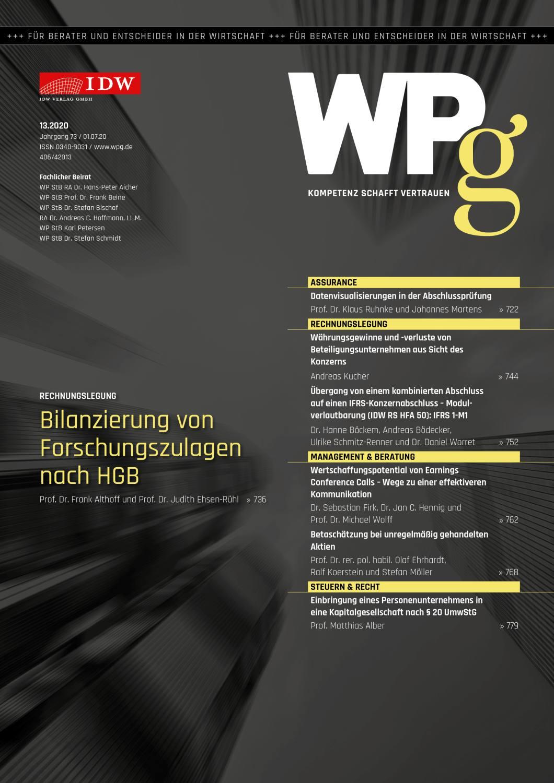 WPg - Die Wirtschaftsprüfung 13/2020