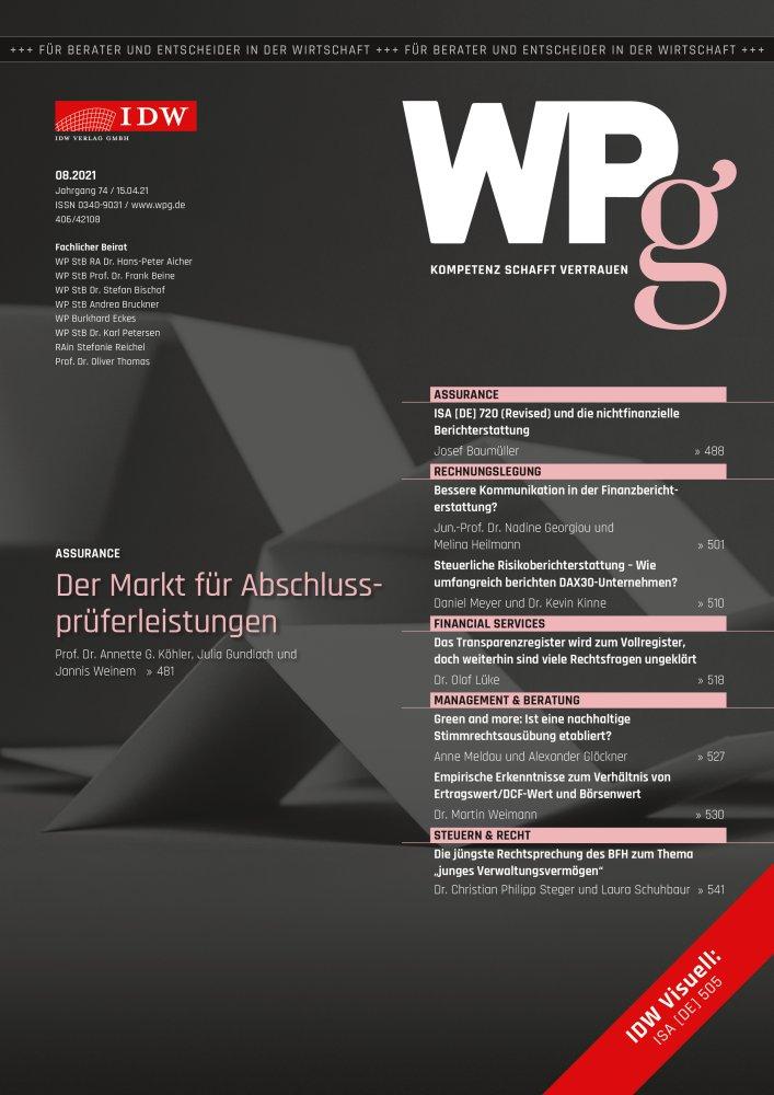 WPg - Die Wirtschaftsprüfung 8/2021