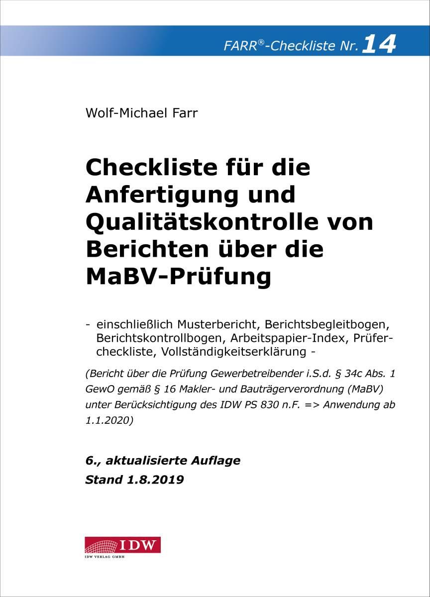 Checkliste 14 für die Anfertigung und Qualitätskontrolle von Berichten über die MaBV-Prüfung