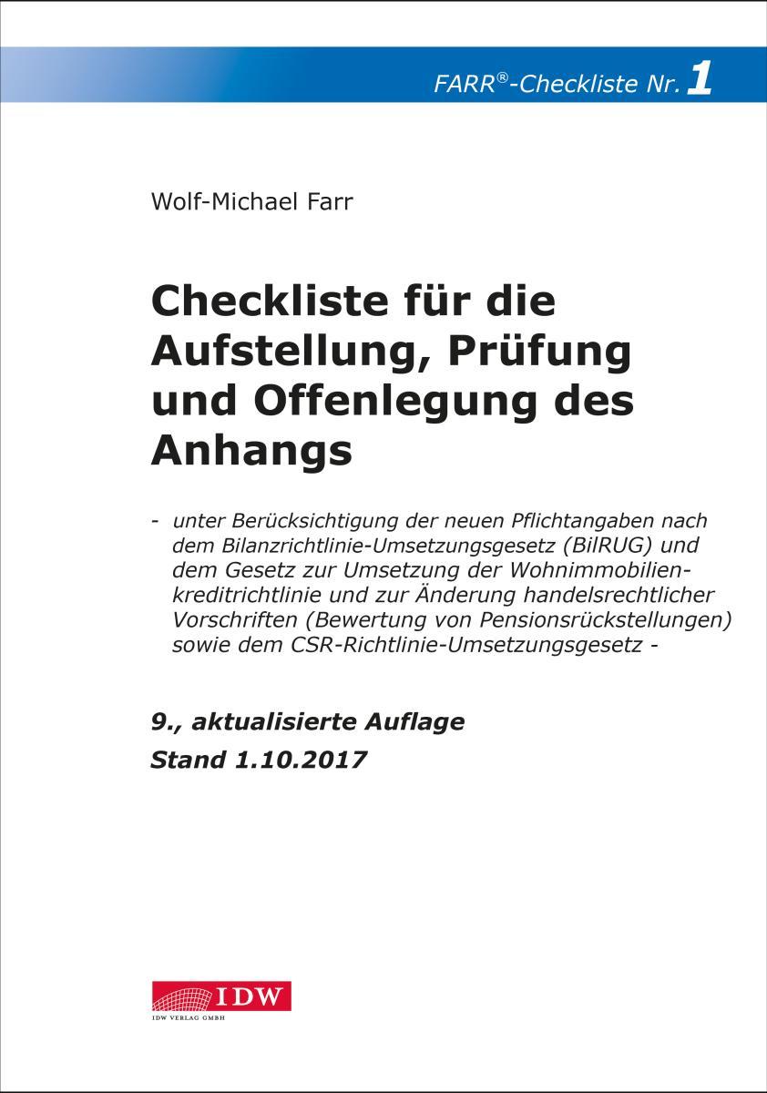 Checkliste 1 für die Aufstellung, Prüfung und Offenlegung des Anhangs