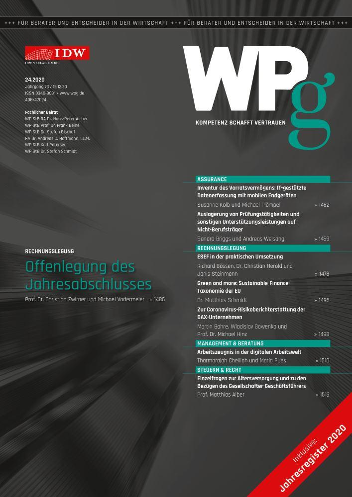 WPg - Die Wirtschaftsprüfung 24/2020