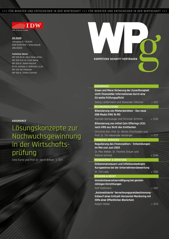 WPg - Die Wirtschaftsprüfung 20/2020