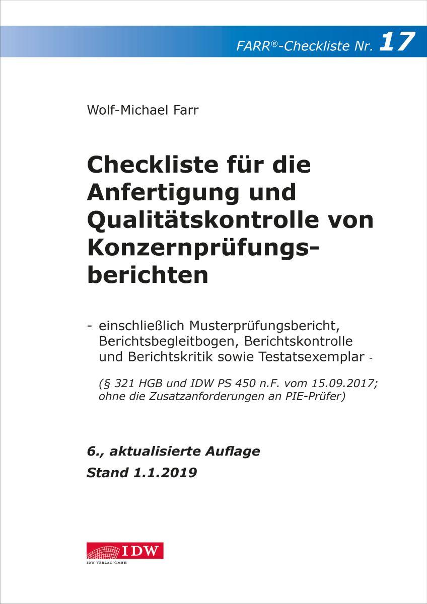Checkliste 17 für die Anfertigung und Qualitätskontrolle von Konzernprüfungsberichten