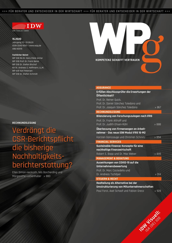 WPg - Die Wirtschaftsprüfung 15/2020