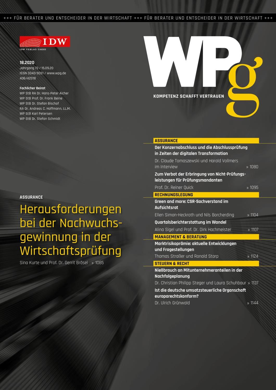 WPg - Die Wirtschaftsprüfung 18/2020