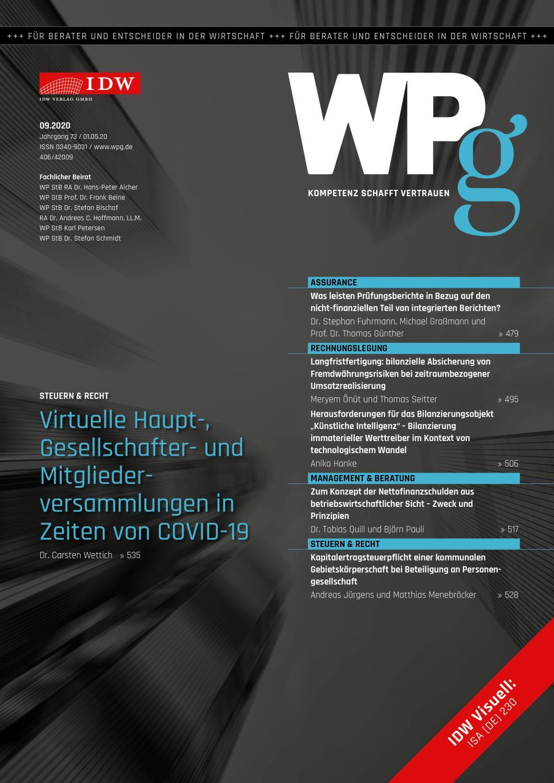 WPg - Die Wirtschaftsprüfung 9/2020