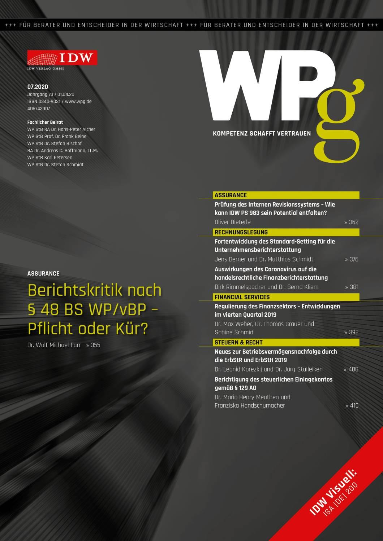 WPg - Die Wirtschaftsprüfung 7/2020