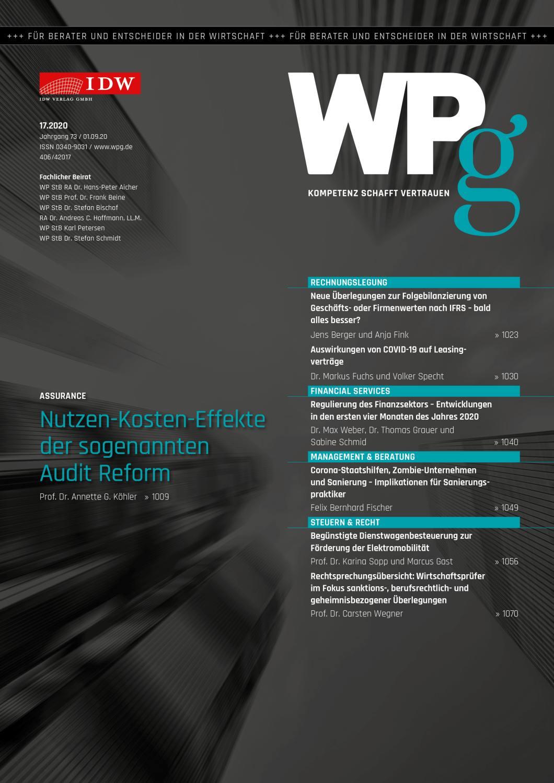 WPg - Die Wirtschaftsprüfung 17/2020