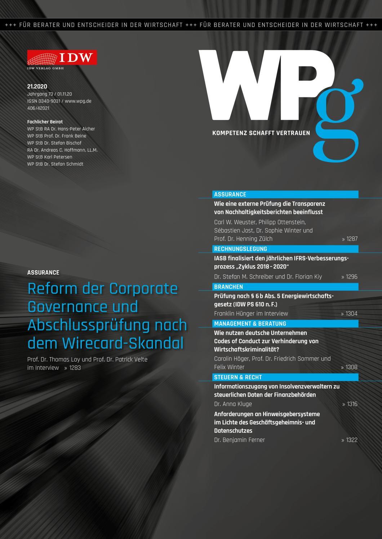 WPg - Die Wirtschaftsprüfung 21/2020
