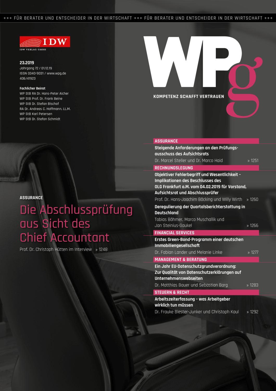 WPg - Die Wirtschaftsprüfung 23/2019