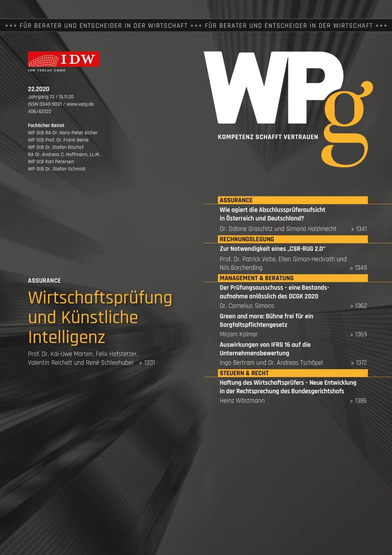 WPg - Die Wirtschaftsprüfung 22/2020