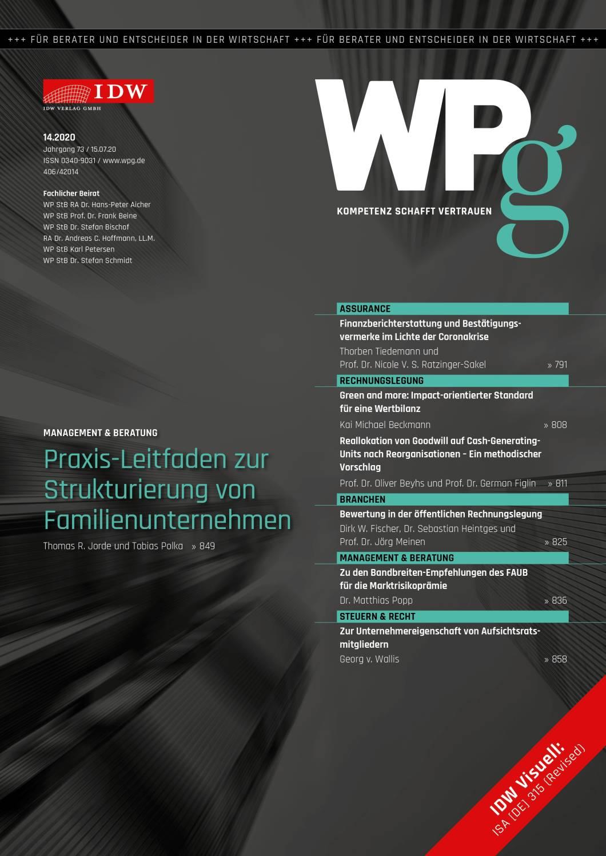 WPg - Die Wirtschaftsprüfung 14/2020