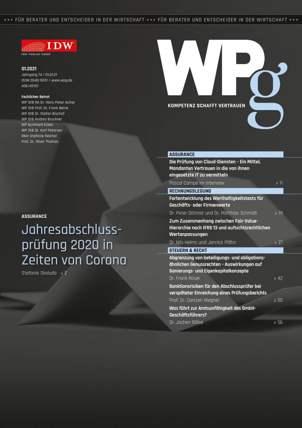 WPg - Die Wirtschaftsprüfung 1/2021