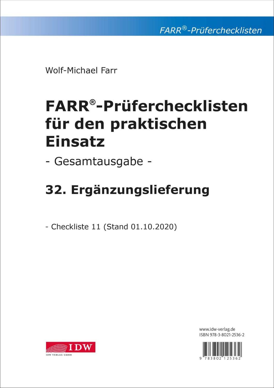 FARR Prüferchecklisten für den praktischen Einsatz - Ergänzungslieferung