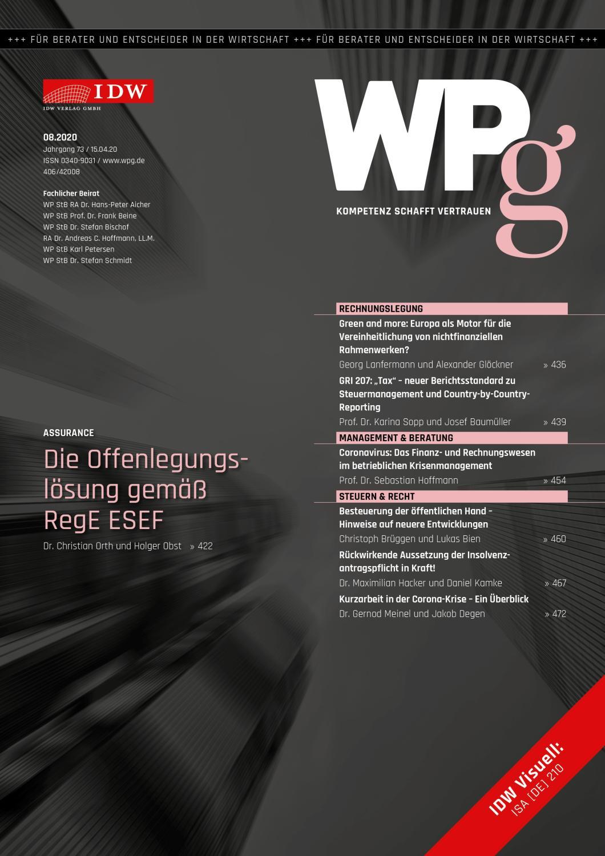 WPg - Die Wirtschaftsprüfung 8/2020