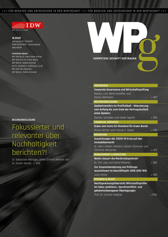 WPg - Die Wirtschaftsprüfung 16/2020
