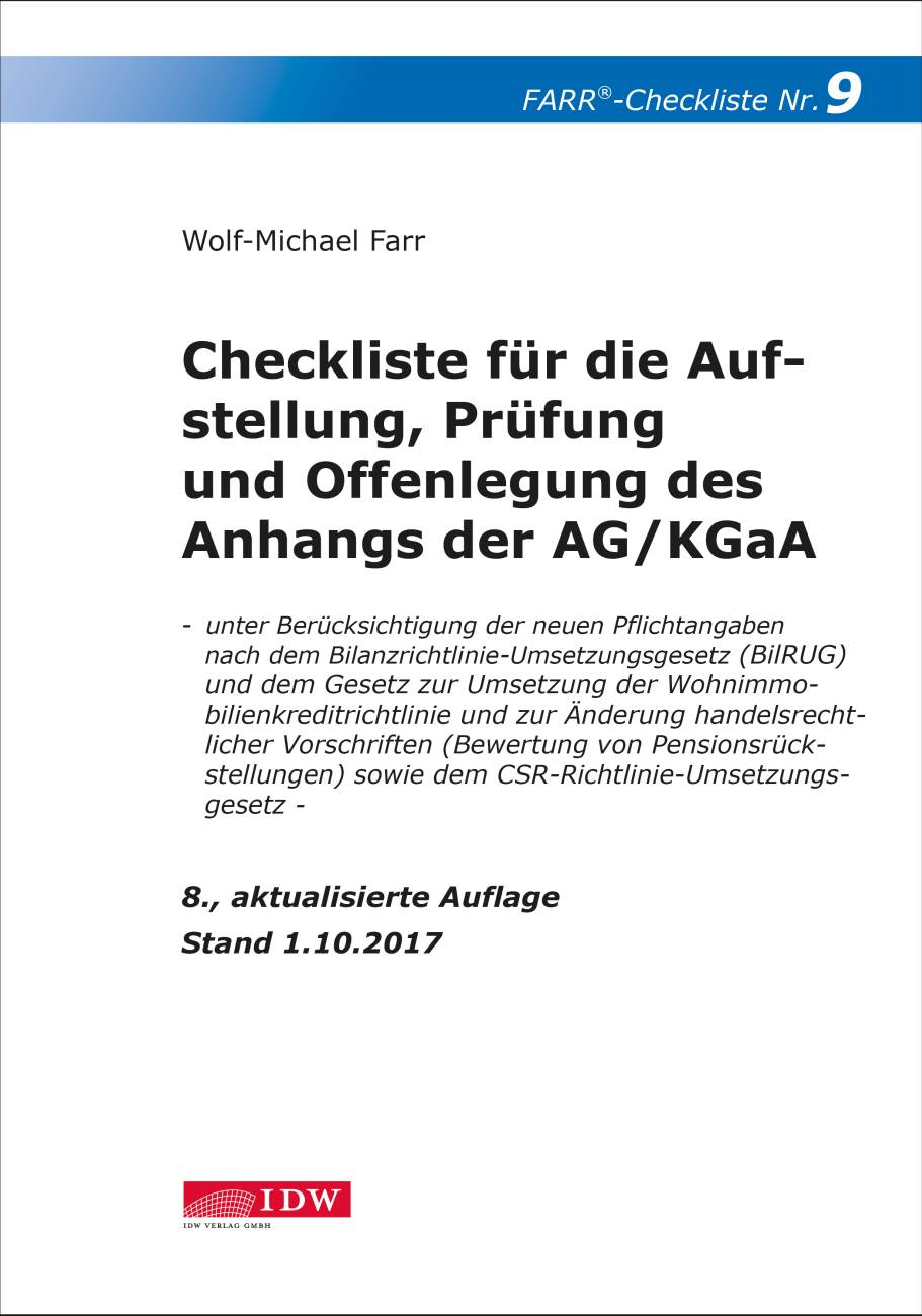 Checkliste 9 für die Aufstellung, Prüfung und Offenlegung des Anhangs  der AG/KGaA