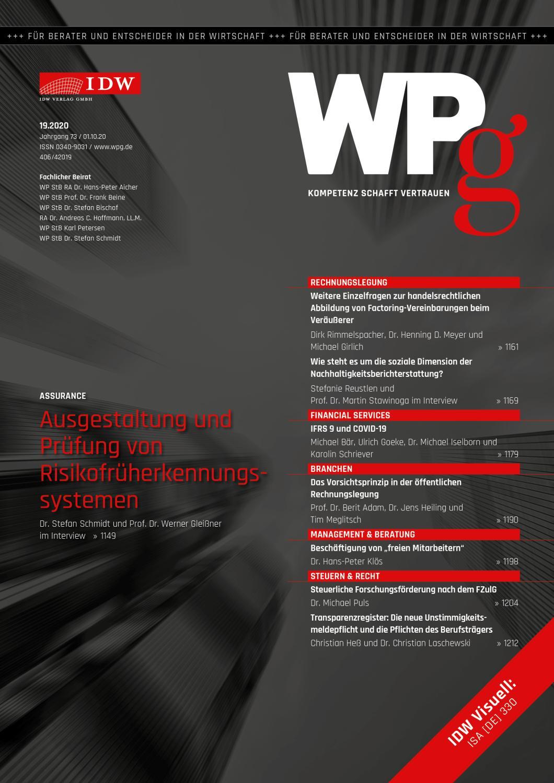 WPg - Die Wirtschaftsprüfung 19/2020